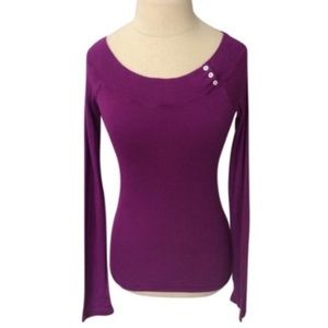 Splendid Long Sleeve Boatneck Button Accent Top
